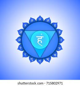 fifth Vishuddha throat chakra with hinduism sanskrit seed mantra Ham and syllables am, ah, im, um, irm, em, aim, om, aum on lotus petals. Flat blue symbol colored design for meditation, yoga