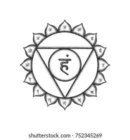 fifth Vishuddha throat chakra sanskrit seed mantra Ham hinduism syllables on lotus petals. Dot work tattoo style hand drawn black monochrome symbol on white isolated background for yoga and meditation