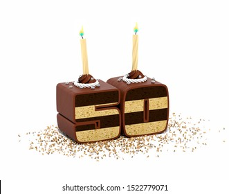 fiftieth anniversary cake with candles 3D rendering