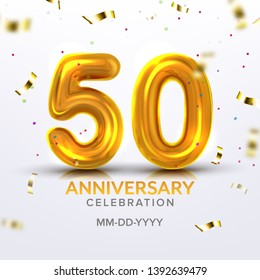 Fiftieth Anniversary Celebration Number . Template Of Modern Invitation Postal Decorated Gold Inflatable Number Fifty Like Air Balloon, Foil And Confetti On Background. 3d Illustration
