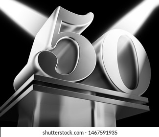 Fiftieth anniversary celebration shows celebrations and greetings for marriage. 50th year of marriage congratulation - 3d illustration