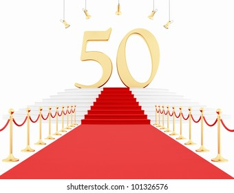 fiftieth anniversary with red carpet isolated on white-rendering
