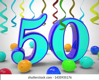 Fiftieth birthday celebration balloons shows a happy event. Celebrating 50th with a joyful 50 party - 3d illustration