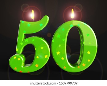 Fiftieth birthday celebration candles shows a happy event. Celebrating 50th with a joyful 50 party - 3d illustration