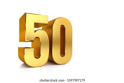 fifty, 3d illustration golden number 50 on white background and copy space on right hand side for text, Best for anniversary, birthday, new year celebration.