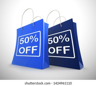 Fifty percent off discount reduction showing 50% less price. Special offer discounted half price product - 3d illustration