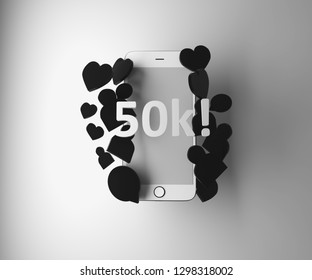 Fifty thousand subscribers, followers. 50k. Thank you! Blogger, social networks, social media. 3D render. Cell phone, smartphone.
