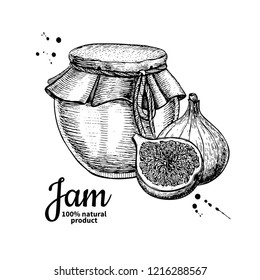 Fig jam glass jar drawing. Fruit Jelly and marmalade. Hand drawn food illustration. Sketch style vintage objects for label, icon, packaging design.