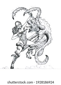 Fight between an astronaut and an alien. Beautiful woman against the beast. Pencil drawing.