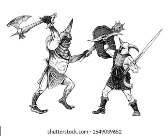 Fight between ork and human. Evil against good. Fantasy drawing.