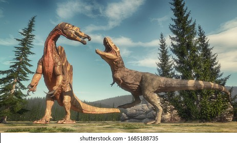 Fight between spinosaurus and t rex on the jurassic valley . This is a 3d render illustration .
