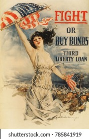FIGHT OR BUY BONDS--THIRD LIBERTY LOAN. American World War 1 poster by Howard Chandler Christy 1917