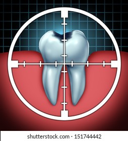 Fight cavities as a tooth cavity symbol with a target icon aiming at the oral disease as a health care concept for bone anatomy as a cure and dentist therapy for decay and rotting due to bacteria.