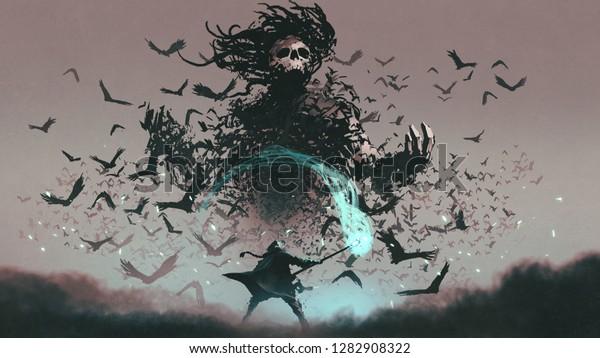 драка сцены человека с магическим персоналом мастера и дьявол ворон, цифровой стиль искусства, иллюстрация живопись