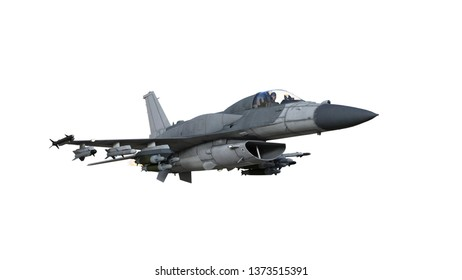 Fighter jet plane in flight, military aircraft, army airplane isolated on white background, bottom view, 3D rendering