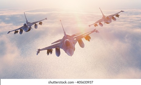 Fighter jets formation 3D rendering