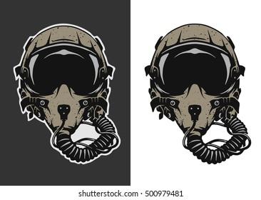 Fighter Pilot Helmet for dark and white background.