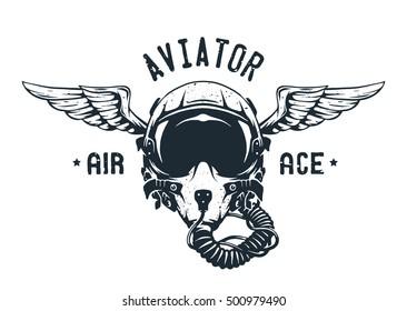 Fighter Pilot Helmet. Emblem t-shirt design.