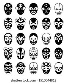 Fighters masks. Mexican lucha libre silhouettes of masked luchador isolated