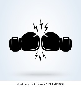 fighting Boxing gloves icon, two gloves modern flat design style. illustration