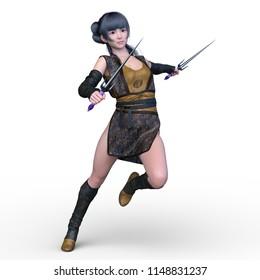 Fighting ninja female