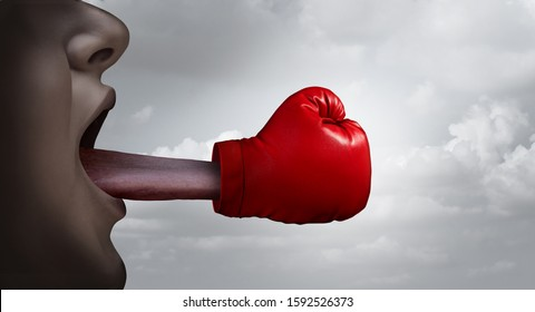 Fighting words and free speech concept  and debating or argument to defend or prosecute as a legal argument symbol or lawyer letigation idea in a 3D illustration style.