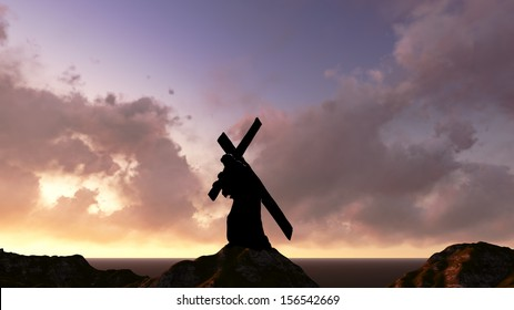 The figure of Christ carrying the cross up Calvary on Good Friday. The sky is dark and stormy.