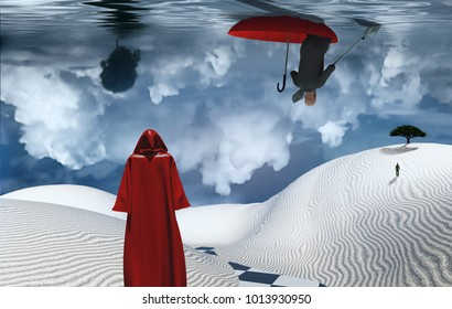Figure in cloak stands in desert. Man floats in red umbrella. Green tree on a sand dune. Figure of man in a distance. Clouds reflected in the ocean. 3D rendering