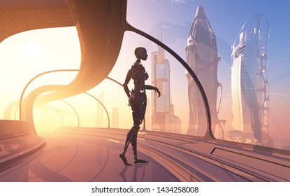 The figure of a cyborg in a modern interior..,3D rendering