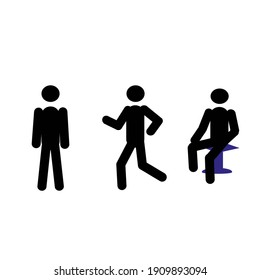 the figure of a human sketch in different poses stands, runs. sits isolated on a white background