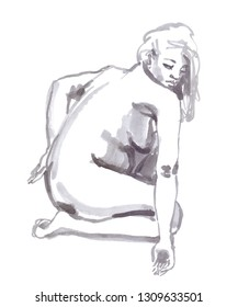 Figure of a hunched woman painted in grey watercolor on clean white background