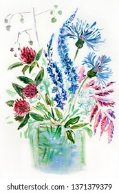 Figure illustration of a bouquet of meadow wildflowers in a vase on a white isolated background.