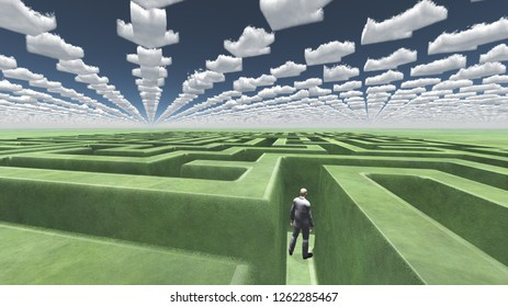 Figure inside of maze with arrow clouds above. 3D rendering