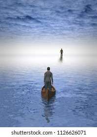 Figure of man before bright light. Man in a boat. 3D rendering