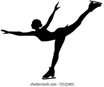 Figure skater girl. Black sport icon.