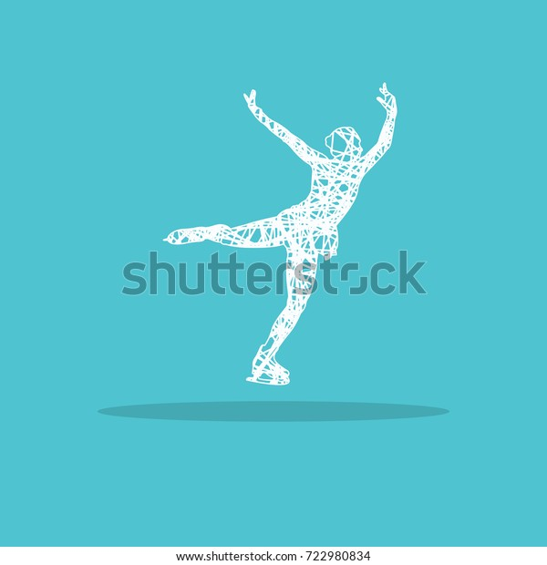 Figure Skater Girl Logo Stock Illustration 722980834