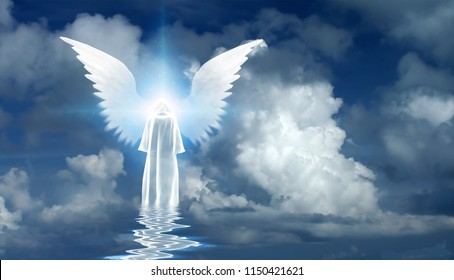 Figure in white cloak stands on water surface. Winged star in cloudy sky. 3D rendering