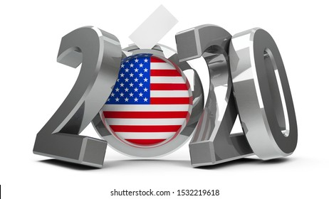 Figures 2020 with american flag badge isolated on white background, represents Presidential Election 2020 in USA, three-dimensional rendering, 3D illustration