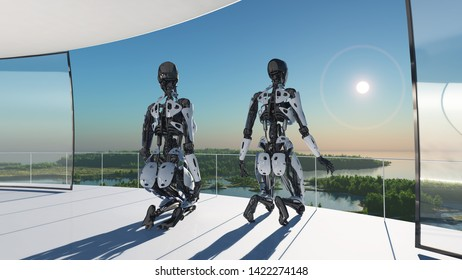 The figures of a cyborg in a modern interior..,3D rendering
