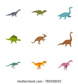 Figures dinosaur icons set. Flat set of 9 figures dinosaur  icons for web isolated on white background