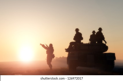Figures of men and military equipment in the sun.