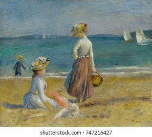 Figures on the Beach, by Auguste Renoir, 1890, French impressionist painting, oil on canvas. Beach scene painted on the Cote d\x90Azur in southern France