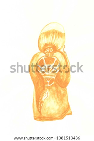Figurine Confucius Symbol Power Style Japanese Stock Illustration