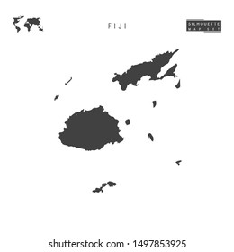 Fiji Blank Map Isolated on White Background. High-Detailed Black Silhouette Map of Fiji.