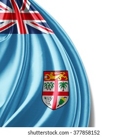 Fiji flag of silk with copyspace for your text or images and white background