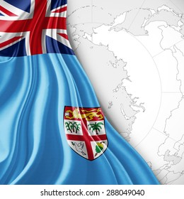 Fiji   flag of silk with world map and white background