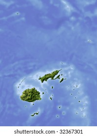 Fiji, shaded relief map. Colored according to vegetation, with major urban areas. Includes clip path for the state boundary.