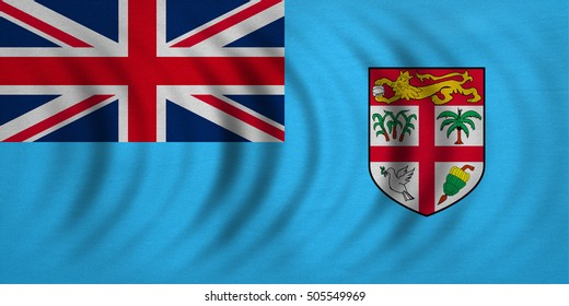 Fijian national official flag. Patriotic symbol, banner, element, background. Correct colors. Flag of Fiji wavy with real detailed fabric texture, accurate size, illustration
