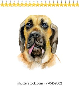 Fila brasileiro Brazilian Mastiff puppy symbol of New Year and Christmas greeting card design topped by stars. Cute small dog watercolor illustration isolated on white background, funny postcard