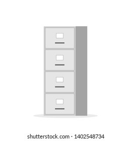 File cabinet with four drawer. Clipart image isolated on white background